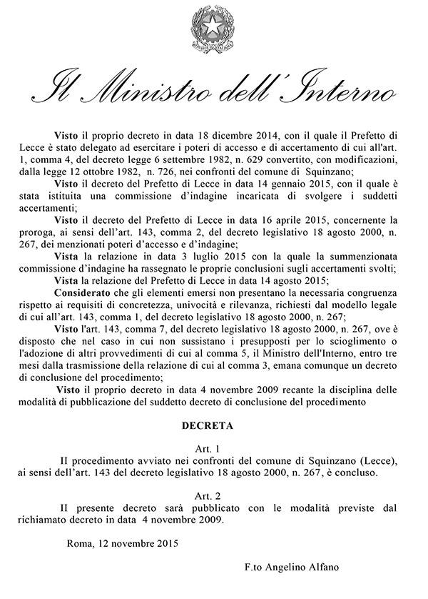 decreto del ministro squinzano